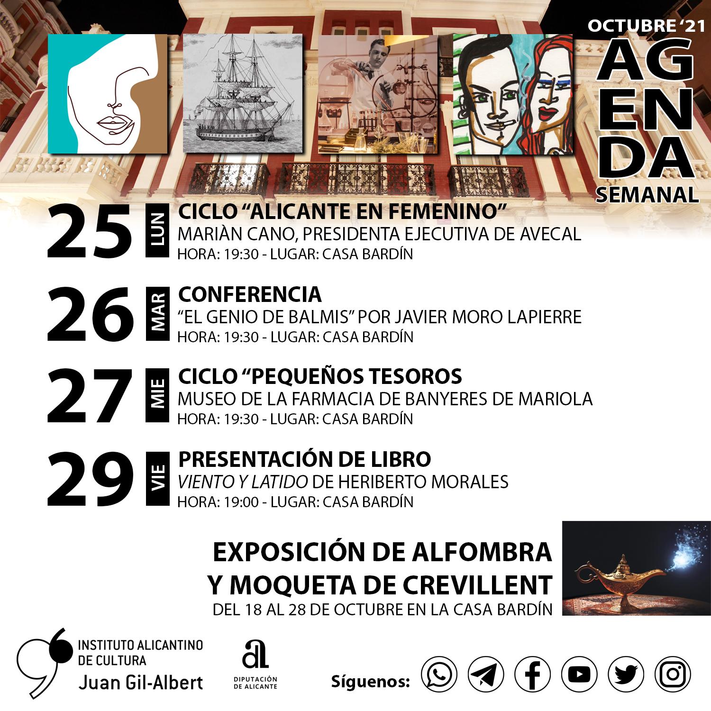El Instituto Gil-Albert finaliza octubre con una conferencia sobre el Museo de Banyeres de Mariola y una charla de Javier Moro